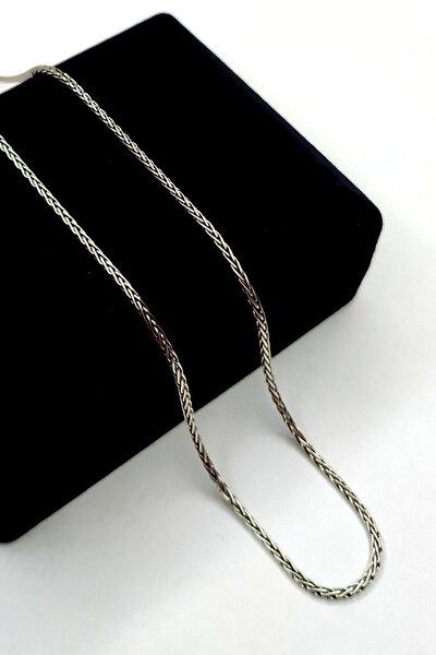 925 Ayar Gümüş Italyan Spiga Zincir Kolye 1.8 Mm Kalınlık 60 Cm Tilki Kuıyruğu Kolye