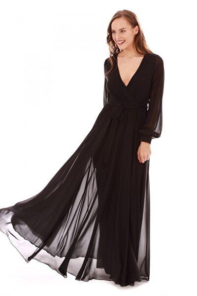 Siyah Şifon Kruvaze Uzun Abiye Elbise