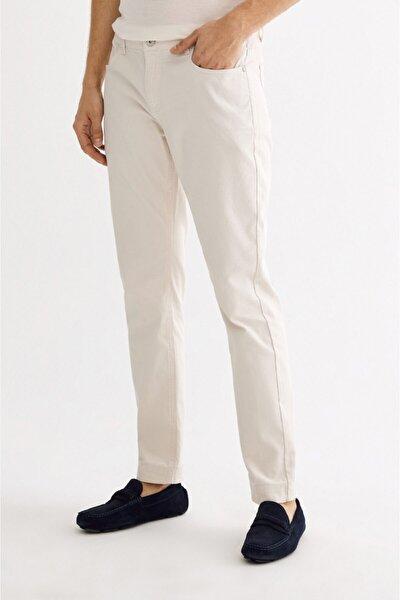 Erkek Krem 5 Cepli Armürlü Slim Fit Pantolon A01s3072