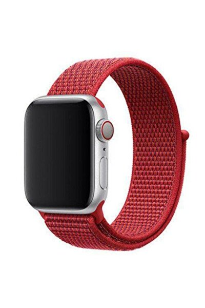 Apple Watch - 3 4 5 - 42mm 44mm Kırmızı Nike Spor Loop Model Cırtlı Kordon Kayış Örme