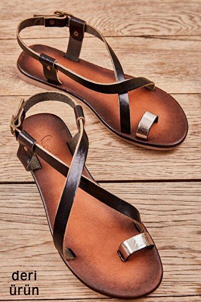 Hakiki Deri Platin Kadın Sandalet K05685162103