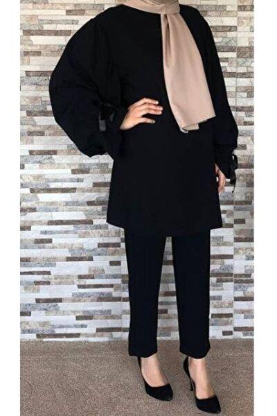 Kadın Siyah  Krep Kumaş Balon Kol Bilekleri Kurdela Bağlamalı Alt Kalem Pantolon