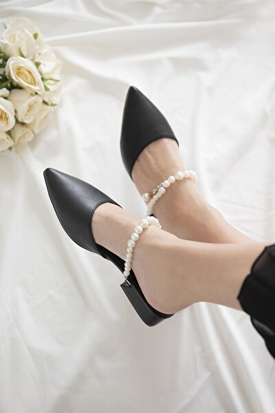 Elsa Kadın Siyah İnci Detay Topuklu Sandalet