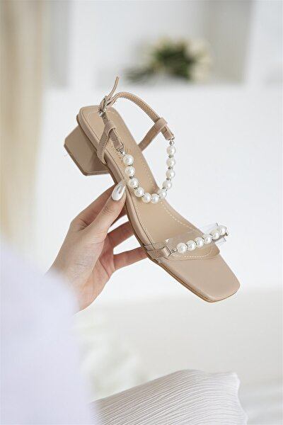 Helly Kadın Inci Detay Topuklu Ayakkabı Ten