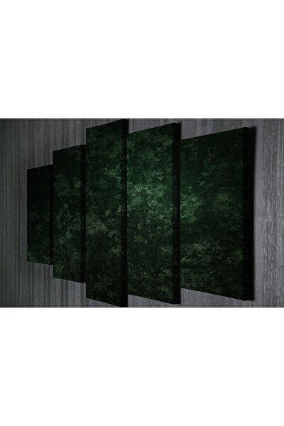 Yeşil Desen 5 Li Kanvas Tablo Dijital Baskı Tablo