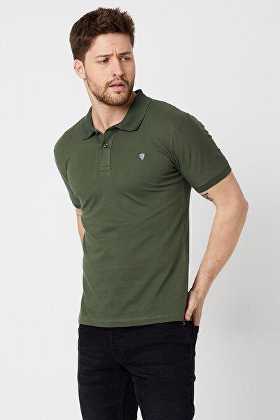 Erkek Yeşil Polo Yaka Slim Fit Kısa Kollu T-shirt