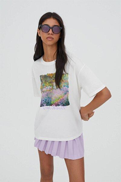 Kadın Beyaz Monet Eseri Görselli T-Shirt - %100 Organik Pamuklu 04241338