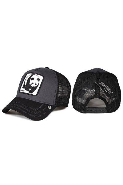 Panda Hayvan Desenli Şapka Siyah Antrasit