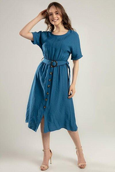 Kadın Kemerli Kısa Kollu Midi Elbise Y20s110-1682-1