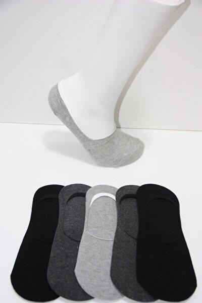 Erkek Koyu Gri Silikon Baskılı Babet Çorap 5'li