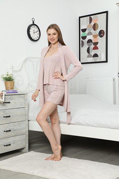 Kadın Üçlü Set Şortlu Pijama Takımı Muline Yumoş Kumaş