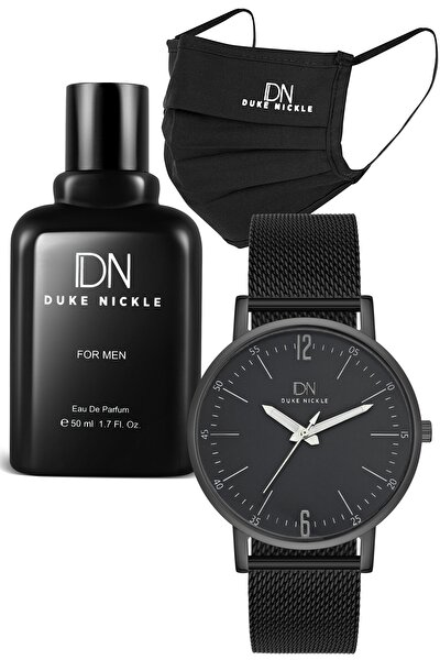 Erkek Siyah Maske Kol Saati ve Parfüm Seti 2syheg27011a