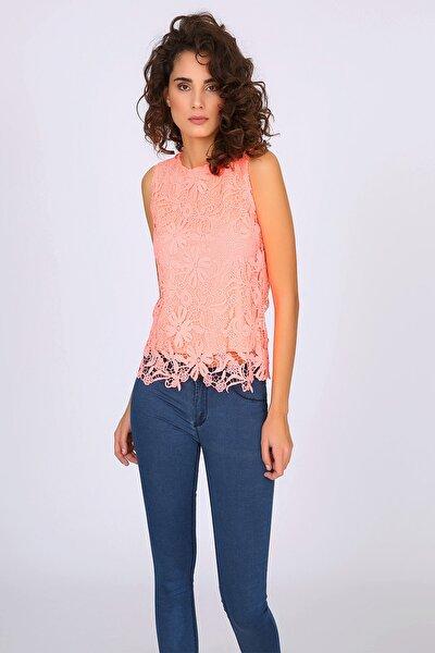 Kadın Somon Dantel Desenli Bluz