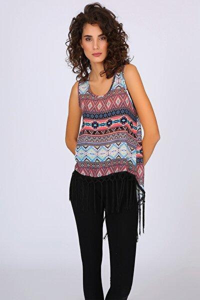 Kadın Renkli Arkası Asimetrik Kesim Bluz