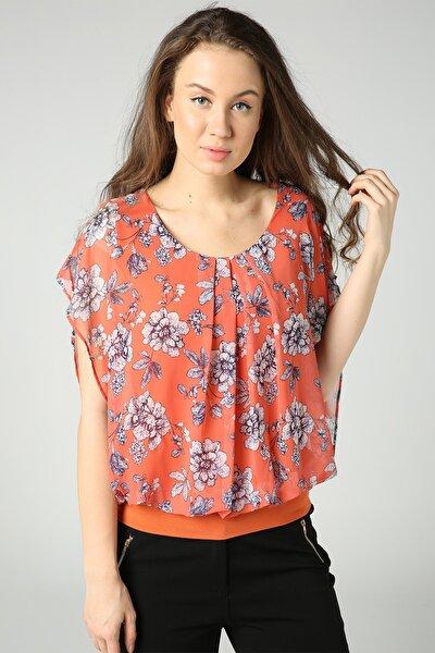 Kadın Turuncu Çiçekli Beli Lastikli Bluz