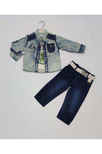 Erkek Çocuk Mavi T-shirt Kot Gömlek Ve Kot Pantolon Takım 3'lü