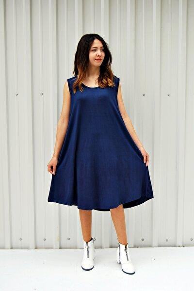 Kadın Lacivert Kolsuz Düz Renk Çan Etek Elbise