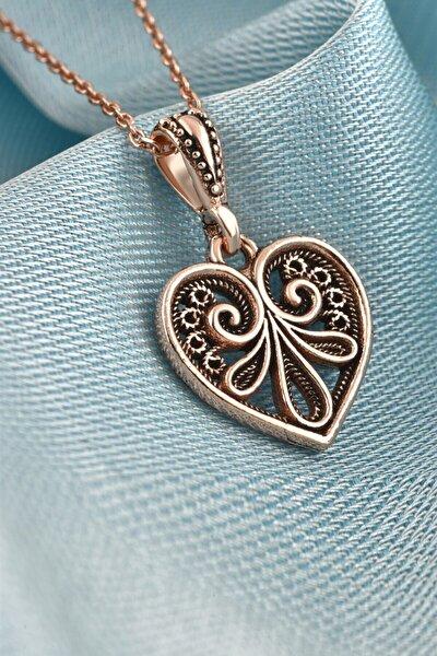 Işlemeli Kalp Model Telkari Rose Gümüş Kolye