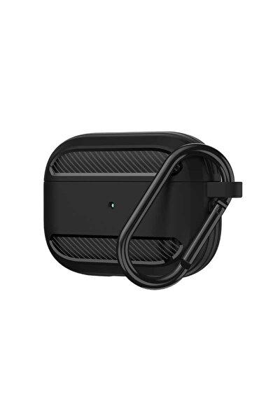 Apple Airpods Pro Kılıfı Karbon Tasarımlı Tpu Wireless Şarj Destekli Askılı Aparatlı Kılıf