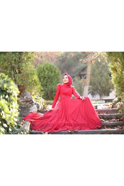 Kadın Kırmızı Hayal Tül Abiye Elbise