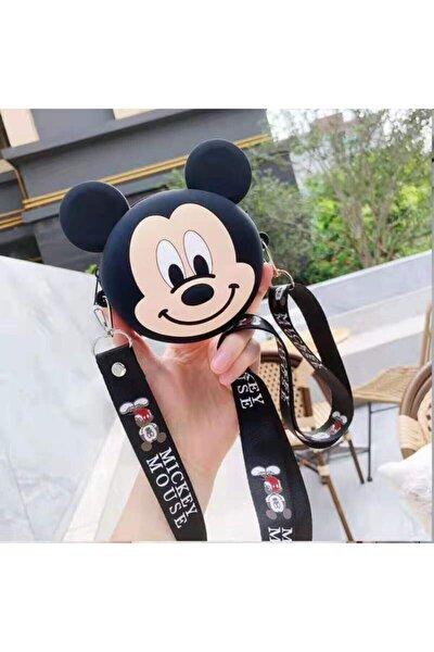 Kadın Siyah Mickey Mouse Silikon Dokulu Omuz Askılı Çanta
