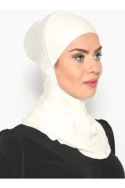 Boyunluklu Hijab Bone - Ekru -