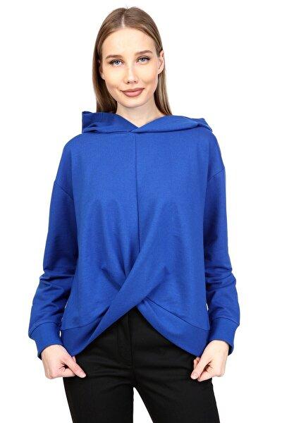 Saks Renk Kapişonlu Düğümlü Sweatshirt 1k2316mo