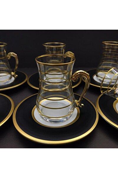Gold Çizgili Kulplu 6 Kişilik 12 Parça Çay Seti