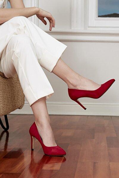 Kadın Kırmızı Elora Hakiki Süet Stiletto