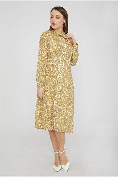 Kadın Sarı Fiyonklu Uzun Kol Elbise Y19EL068