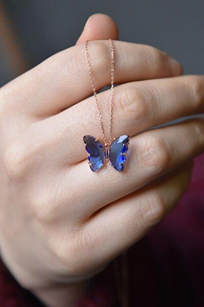 925 Ayar Gümüş Nano Ay Taşı Mavi Kelebek Kolye
