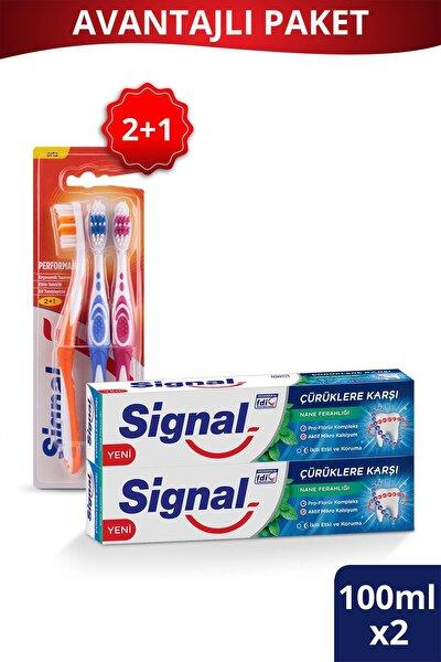 Çürüklere Karşı Diş Macunu 100 ml X2 Adet + Performans Diş Fırçası 2+1