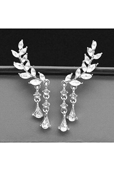 Gümüş Renk Yaprak Figürlü Zirkon Taşlı Kristal Özel Tasarım Küpe Çift