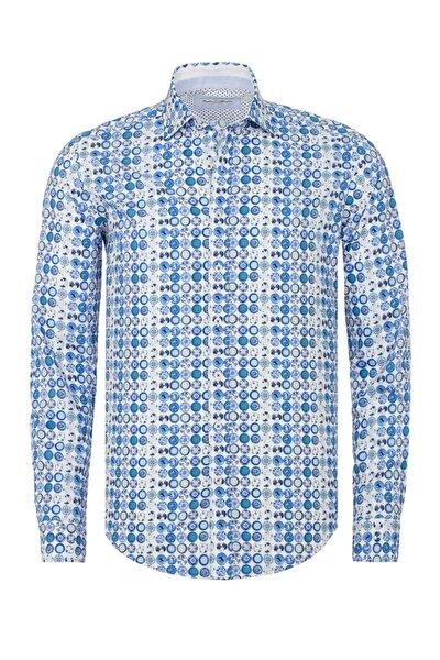Erkek Mavi Baskılı Slim Fit Casual Gömlek