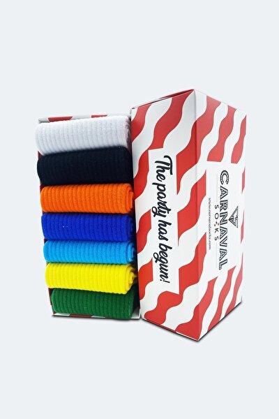 7'li Düz Sade Renkli Desensiz Çorap Set 1013