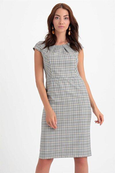 Kadın Mavi Kısa Kol Ekose Elbise