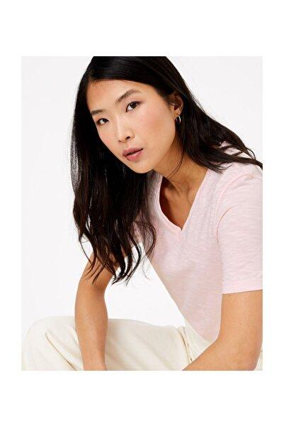 Kadın Pembe Saf Pamuklu Straight Fit T-Shirt T41008994