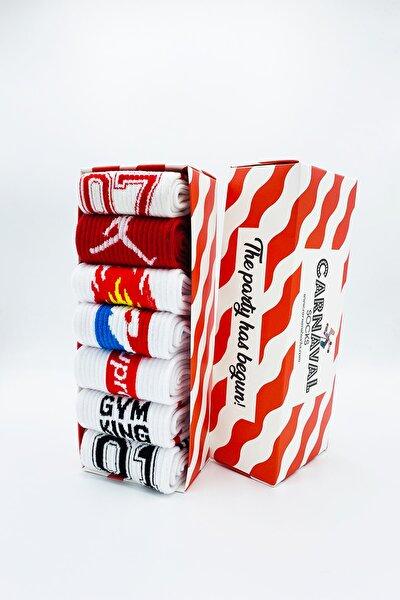 7'li Gym Spor Desenli Atletik Çorap Set 1045