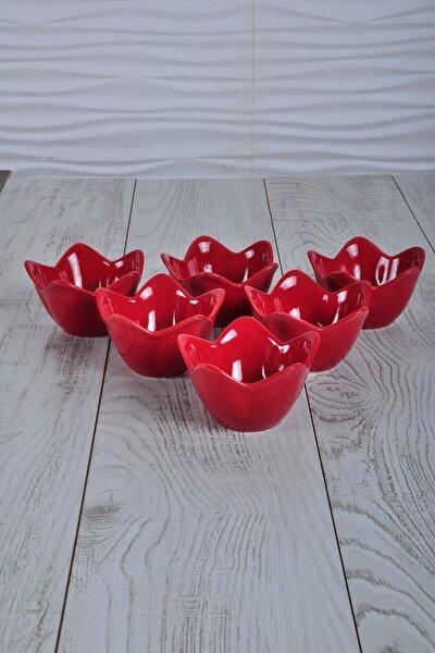 Kırmızı Zambak Çerezlik / Sosluk 12 Cm 6 Adet