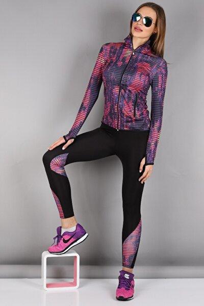 Kadın Siyah Dalgıç Kumaş Spor Sweat Tayt Takım