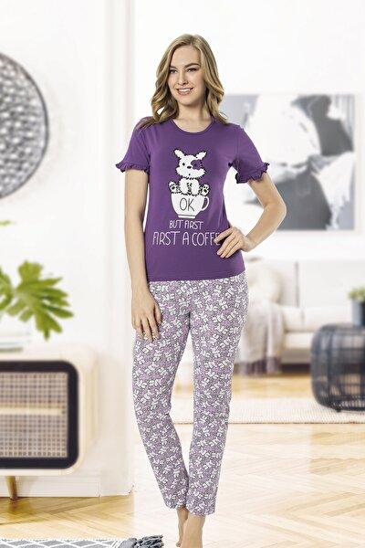 Kadın Mor Penye Modal Kumaş Kısakol Pijama Takım