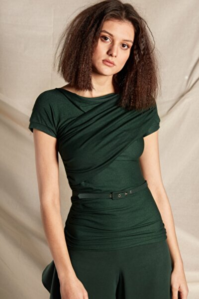 Kadın Örme Bluz Drape Detaylı Bluz