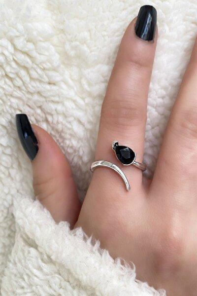 Gümüş Renk Siyah Damla Figürlü Ayarlanabilir Yüzük