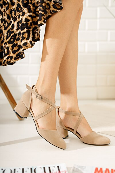 Kadın Ten Süet Çapraz Model Topuklu Klasik Ayakkabı