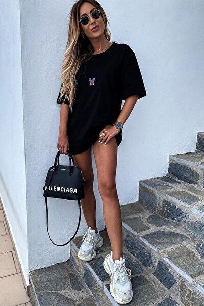 Siyah Kadın Mickey Mouse Baskılı Oversize T-shirt