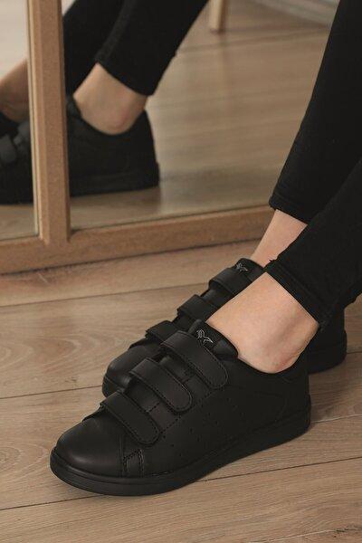 Unisex Siyah  Cırtlı Sneaker  Scc75