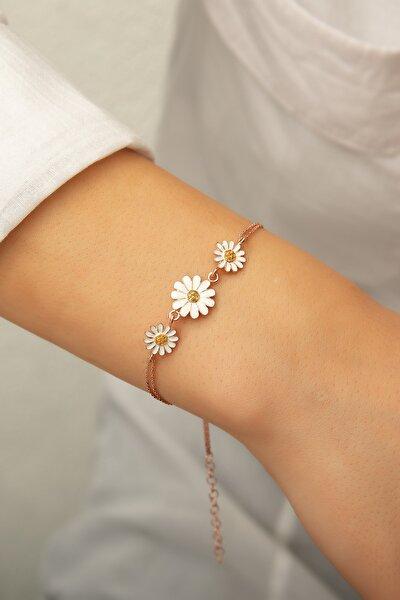 Üç Papatya Süzme Bileklik - Sarı Nano Zirkon Taşlı Mineli Rose Altın Kaplama 925 Ayar Gümüş