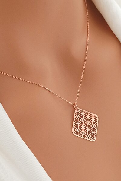 Kadın Yaşam Çiçeği Rose Altın Kaplama 925 Ayar Gümüş Kolye