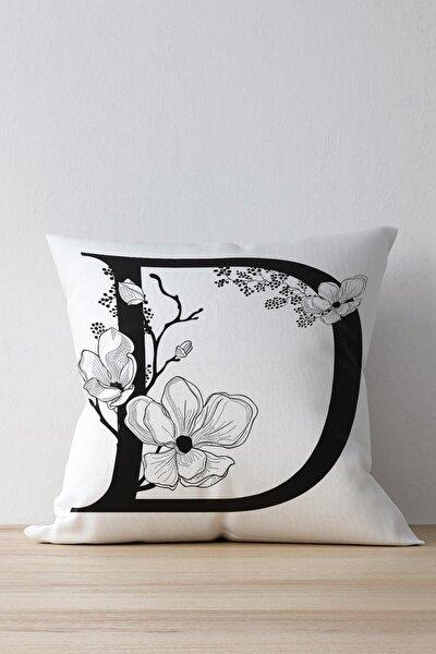 Özel Tasarım D Harfi Dekoratif Kırlent Yastık Kılıfı Beyaz Dkwhm3004