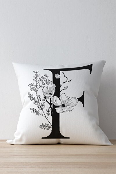 Beyaz Özel Tasarım F Harfi Dekoratif Kırlent Yastık Kılıfı Dkwhm3006